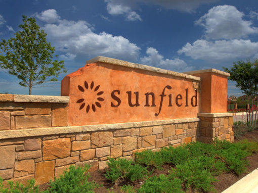 "Sunfield <br><p style=""font-size:14px"">Buda, Texas</p>"